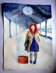 WAITING Watercolor painting by ArtbyEfka on Etsy