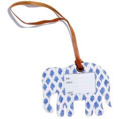 John Robshaw Kamala Iris Elephant Luggage Tag ($25) ❤ liked on Polyvore featuring bags and luggage