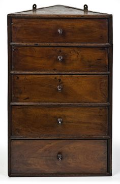 Allpress Antiques Furniture Melbourne Victoria Australia: An Unusual Century English Walnut & Oak Hanging Corner Chest -
