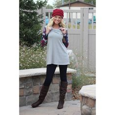 Grey Long Sleeve With Contrast Sleeves With Cowl Neck