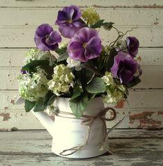 french country floral arrangments | ... arrangement, Purple Pansies, Table top arrangement, French country