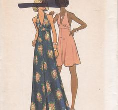 Butterick 3129 Size 10 1970s halter dress pattern long or short uncut. $6.00, via Etsy.