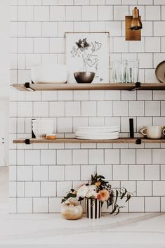 Metal Shelf Brackets, Floating Shelf Hardware in Steel, Black or Brass (Featured on Young House Love) Diy Wood Shelves, Metal Shelves, Kitchen Shelves, Open Shelving, Deep Shelves, Floating Shelf Hardware, Floating Shelves, Floating House, Houses Architecture