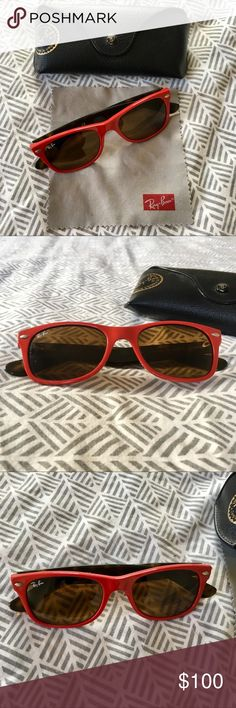 Authentic Ray-Ban New Wayfarer in Red Tortoise Authentic Ray-Ban New Wayfarer in hard to find, rare red tortoise color combo with amber lenses. RB 2132 726. 100% UV protection. Measurements: 52-18-145. Made in Italy. Red acetate in front and tortoise temples. Two scuffs on lenses, but not noticeable. Ships with original Ray-Ban case and cleaning cloth. In good used condition with a lot of life left. Ships from a pet and smoke free home. Ray-Ban Accessories Sunglasses