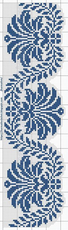 Filet Crochet Charts, Knitting Charts, Crochet Stitches, Embroidery Stitches, Embroidery Patterns, Knitting Patterns, Knit Crochet, Crochet Patterns, Cross Stitch Borders