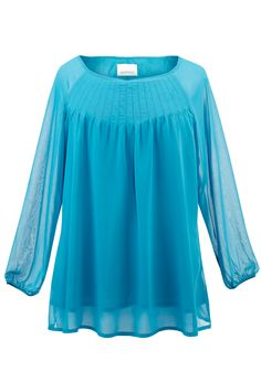Plus Size Solid Pleated Chiffon Blouse | Plus Size Tops Clearance | Avenue