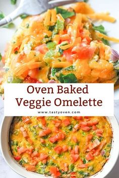 one pan breakfast casserole for healthy eating! a healthy recipe for a baked omelette with veggies Healthy Dishes, Good Healthy Recipes, Healthy Breakfast Recipes, Lunch Recipes, Vegetarian Recipes, Healthy Breakfasts, Healthy Eating, Breakfast Ideas, Vegetarian Breakfast
