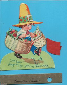 Vintage Valentine Little Boy w/ Basket Flowers Made in Germany Honeycomb Standup