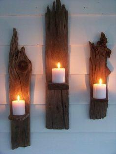 bougies déco sur planche en bois flottant