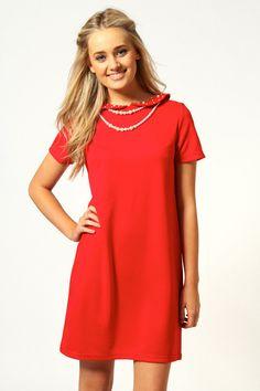Tessa Pearl Trim Peter Pan Collar Shift Dress only £20!
