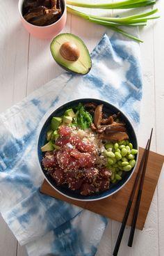 Tuna poke bowl | in my Red Kitchen #tuna #raw #fish #sushi #pokebowl #tunapokebowl
