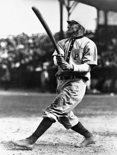 Honus Wagner with a big swing against the New York Giants at Hilltop Park in May 1911.