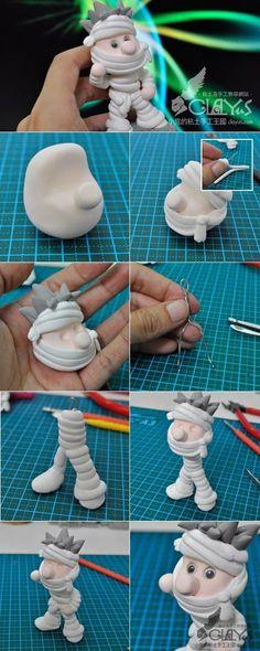 niño momia en fimo, arcilla, porcelana, pasta flexible etc, paso a paso