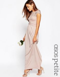 ASOS+PETITE+WEDDING+Lace+Top+Pleated+Maxi+Dress