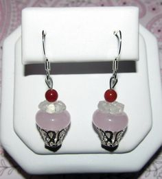 You are looking at a Cupcake Handmade Earrings.    Item Description:  Earrings made with glass beads & silver plated componets.  Ear Wire is