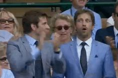 The moment Bradley Cooper & Gerard Butler realized that Andy Murray was going for match point. (gif so cute) Gerry's face *giggles*