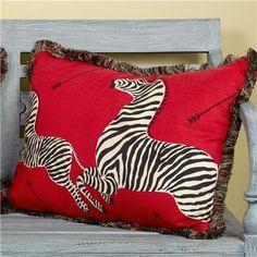 Running Zebras on Red Pillow  shadesoflight.com