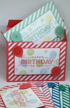 Stampin' Up! Demonstrator stampwithpeg : Box for Super Duper Birthday Cards, with Instructions.