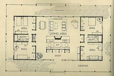 Interesting and efficient mid century floor plan