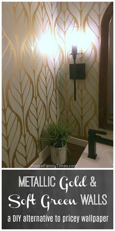 Paint and stencils can be an affordable alternative to expensive wallpaper. This large scale leaf pattern stencil is simple and modern, yet still classic. I used Behr's Wabi-Sabi green paint and soft gold metallic paint to get this elegant effect. Gold Painted Walls, Gold Walls, Green Walls, Metallic Paint For Walls, Stencil Diy, Stencil Painting, Stenciling, Large Wall Stencil, Expensive Wallpaper