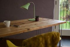 Desk Reclaimed Wood on Hairpin legs Mid Century Rustic Table Vintage Shabby Chic Scaffold Wood Custom Furniture Office Design Home Decor