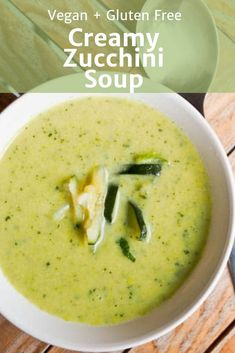 6 Ingredient vegan gluten free creamy zucchini soup is perfect on a cold winter day Coconut milk is used instead of heavy creamy to give it that creamy taste Healthy and. Gourmet Recipes, Soup Recipes, Vegetarian Recipes, Cooking Recipes, Healthy Recipes, Vegan Zucchini Recipes, Healthy Soup, Creamy Zucchini Soup, Zuchinni Soup