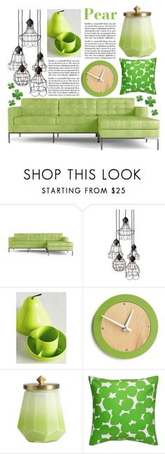 """Pear Home Decor"" by kikiseppr on Polyvore featuring interior, interiors, interior design, home, home decor, interior decorating, Joybird Furniture, Illume and Kate Spade"