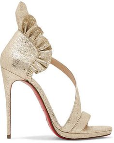 fb474c04335 Christian Louboutin Colankle 120 Ruffled Metallic Cracked-leather Sandals -  Gold Bridal Shoes