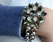 Vintage Smoky Rhinestone Layered Assemblage Bracelet...Sleek