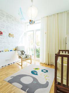 benuta Teppiche: Kinderzimmer Kinderteppich Birdies and Elephant Blau 120x170 cm - GuT-Siegel - 100% Polypropylen - Tiermotive - Maschinengewebt - Kinderzimmer