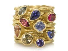 BARBARA HEINRICH Assorted Gemstone 18k Gold Stacking Rings thumbnail 2