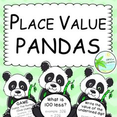 Place Value Pandas. Number of the Day resource. by Sand and Sunsets Place Value Activities, Place Values, Year 2, Learning Environments, Math Resources, Maths, Sunsets, Classroom, Positivity