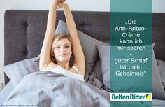 """""""Die Anti-Falten-Crème kann ich mir sparen - guter Schlaf ist mein Geheimnis"""" https://www.bettenritter.com"""