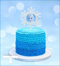 Elsa themed Frozen cakes with ombre buttercream ruffles. www.facebook.com/i.love.cuteology.cakes