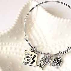 Life is Better in Flip Flops, Beach Bangle Bracelet >>> See this great image  : Handmade Gifts
