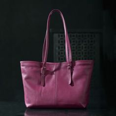 Raspberry Florentine Leather Tote