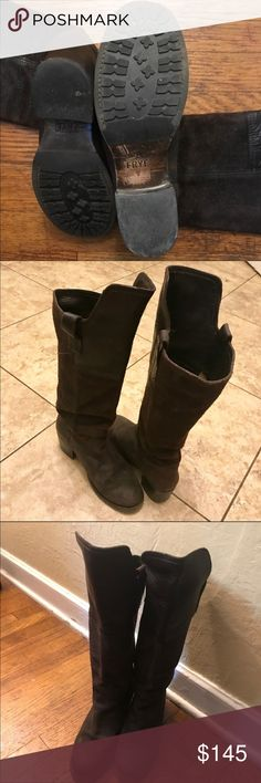 Frye boots! Amazing Frye boots! Worn 1 time!!! Beautiful chocolate brown color very soft leather! Measures 18 inches top of boot to bottom with a 2 inch heel! Foot bed measures 10 inches in length! Frye Shoes Heeled Boots