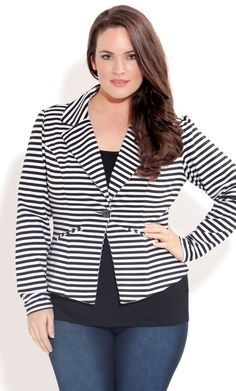 City Chic JAIL BIRD JACKET - Plus Size Fashion