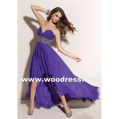 A Line Skirt V-Neckline Purple Chiffon with beading Party Dresses
