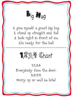 Line Up Chants (from What the Teacher Wants via Growing Kinders)