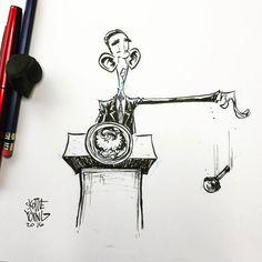 Teared up a bit during Obama's farewell address last night. See ya later, Barry O. #barackobama #dailysketch #sketch #ink #potus #presidentobama