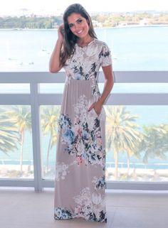 Women's Floral Print Round Neck Short Sleeve High Waist Dress novashe.com
