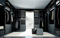 Furniture. Stunning Masculine Walk Incloset Furniture Featuring U Shape Dark Wooden Furniture With Modern Organize System And Clean White Fur Rug Flooring Ideas. Aluring Walk In Closet Design Ideas