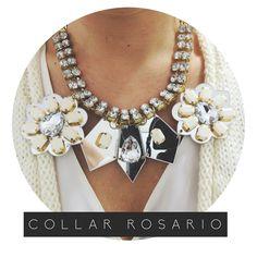 Collar Rosario #strass #maxicollar #espejos #flores #accesories  Para ver más, ¡Click en la foto!