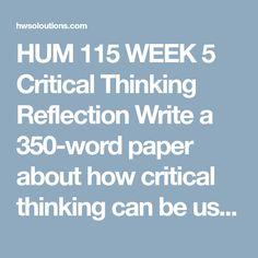 week 2 reflection paper To download more course tutorials visit -   individual teacher.