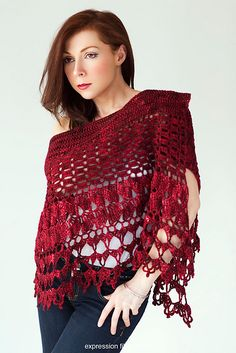Ravelry: Red Velvet Rose Wrap patrón por Chandi Agee