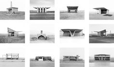 Typology of bus stops in Armenia. From the photo series by Ursula Schulz-Dornberg.