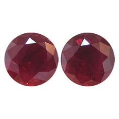 1.78 ct Pair of Round Rubies Deep Red -Gold Crane & Co.