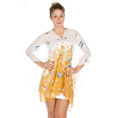 Multi Wear Butterfly Poncho Yellow