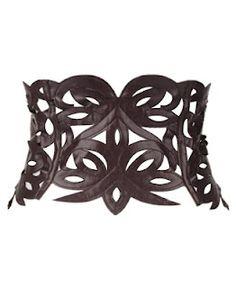 Lace-Up Leatherette Corset Belt  FRONT